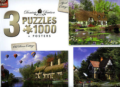"3PUZZLES+Posters ! ""Cottages""1000 pièces chacun Editions KING NEUF sous CELLO !"