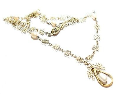 Beautiful vintage or antique Chinese silver gilt and Pearl necklace