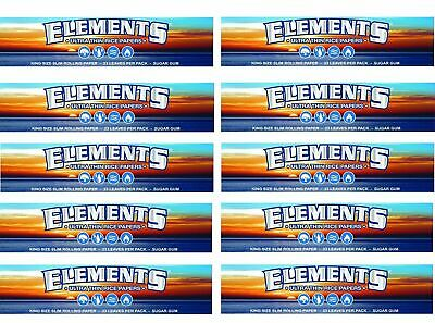 5 Booklets ELEMENTS Slim King Size ULTRA THIN RICE rolling paper 160 papers