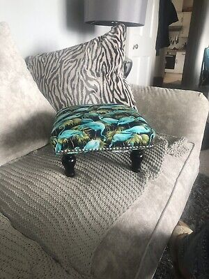 Footstool Shabby Chic with flamingo and studded detail