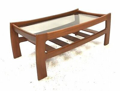 Vintage Retro Mid Century 1960s G PLAN Solid Afromosia & Glass Coffee Table