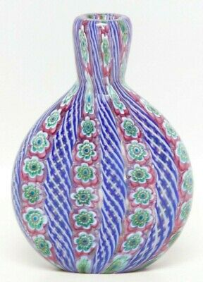 Vintage Millefiori Glass Bottle Hand Blown Blue and Pink End Of Day Murano Art G