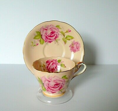 Aynsley Peach Pink Rose Cup & Saucer Set
