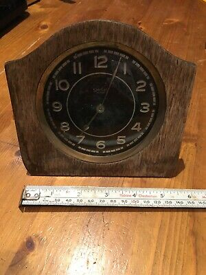Antique Smiths 30 Hour Shelf/ Mantel Clock (Black and Silvered Face Wind-Up