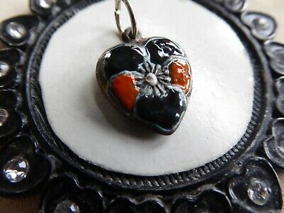 Vtg Sterling Orange and Black Enamel Pansy Puffy Heart Charm Halloween Colors!
