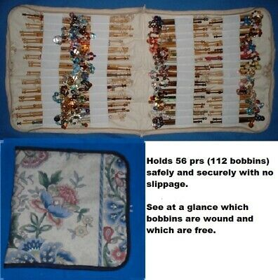 Padded Zip Bobbin Bag Holds 56 Prs Safely & Securely  Cream With Flower Pattern