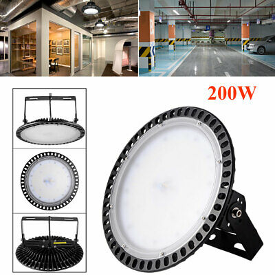 200W UFO LED High Bay Light Commercial Industrial Slim Workshop Cool White Lamps