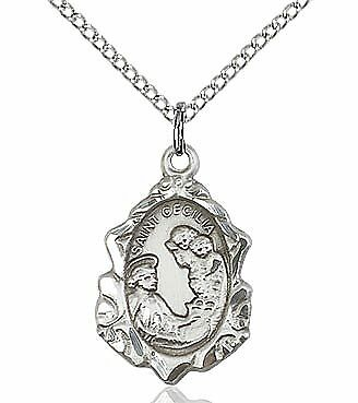 "St. Cecilia sterling silver medal with 18"" sterling silver curb chain"