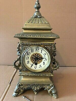 Vintage Medaille De Bronze F Marti, Cast Brass Pagoda Style French Mantel Clock