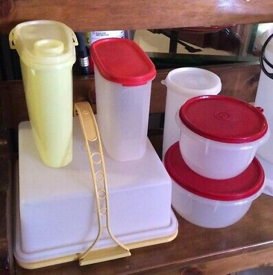 Lot Of 6 Vintage Tupperware Pieces Cake Taker, Bowls, Pitcher, Containers GUC