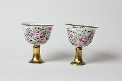 Chinese pair of famille rose pedestal porcelain cups, China