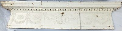Antique Georgian Large Carved Solid Wood Door Panel Pediment Frieze Cornice A