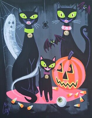 El Gato Gomez  Retro Vintage Halloween Print Black Cats Pumpkin Decoration Witch