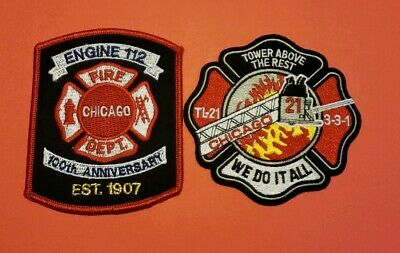 Chicago Illinois Fire Department Patches E-112/T-21