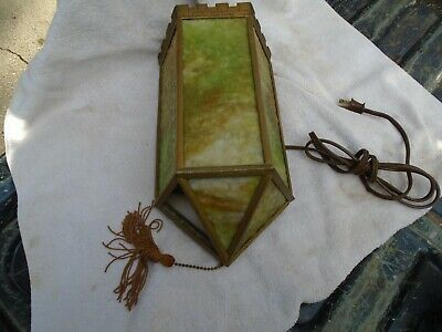 Solid Brass Slag Glass Wall Sconce Castle Parapet  Needs Someone With Talent