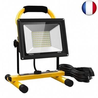 Olafus 40W 4000LM Projecteur LED Chantier, 5000K Blanc Froid,  40.0 (40.0 Watts)