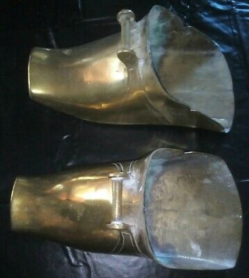 16th Century Conquistador Solid Brass Engraved Armor Stirrup Battle Shoe pair.
