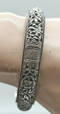 Fine Antique Chinese Sterling Silver Lady's Filigree Bangle c1800s Hallmarked