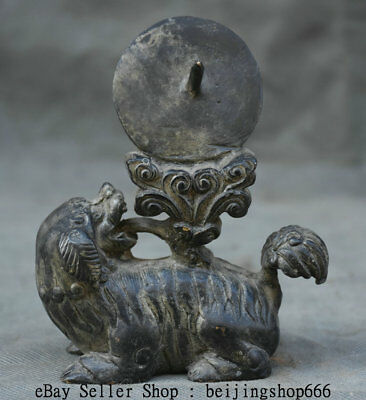 "4.8"" Old Chinese Bronze Feng Shui Fu Dog Guardion Lion Beast Statue Sculpture"