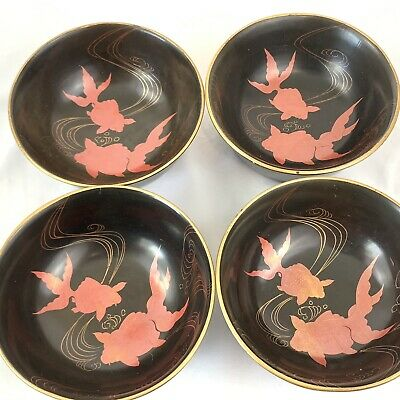 Set 4 Vintage Japanese Black Gold Lacquer Plastic Soup Bowl Painted Goldfish Koi