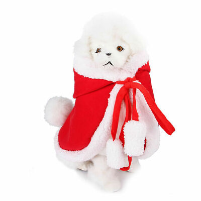 Pet Christmas Costume Red Santa Claus Cloak Hooded Costume For Dogs Cats Xmas