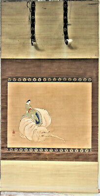 Antique Large Japanese Hand Painted Hanging Scroll ~ Lady Seated On Elephant