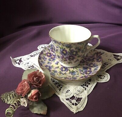 ~Very Rare! ~ English ~'~ Crown Trent ~'~ Violet Chintz ~ Tea Cup & Saucer~