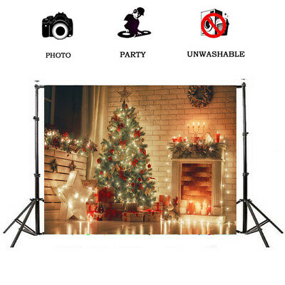 Seamless Christmas Theme Background Xmas Tree Gifts Candle Mantel Photo Backdrop