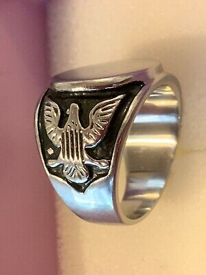 Mens Steel Signet Ring.  Two Winged Eagles. Size 10.