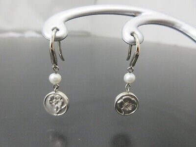Authentic Tiffany & Co. Pearl Pierced 925 Sterling Silver Good 77200