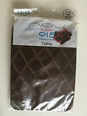 Newlook 915 Teenwear Brown Diamond Patterned Thin Tights New Size S/M Age 13-15