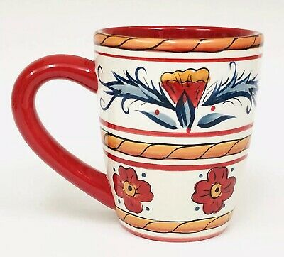 Tabletops Unlimited Gallery ITALIANO Red Hand Painted Crafted Coffee Mug 16 OZ