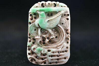 Chinese ancient aristocratic wearing Jadeite jade carving pendant Y37