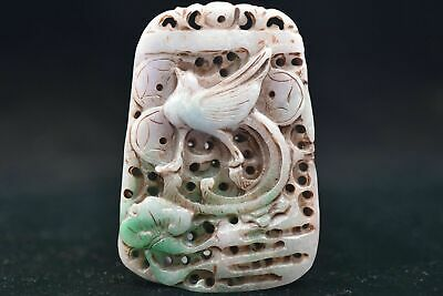 Chinese ancient aristocratic wearing Jadeite jade carving pendant Y38