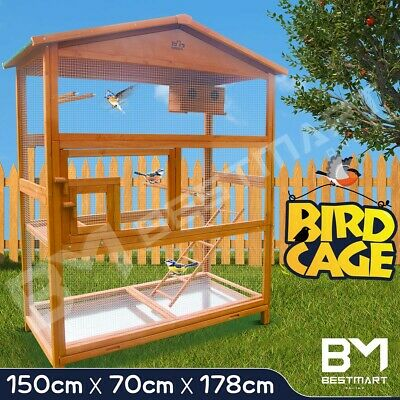 Large Bird Cage Pet Parrot Aviary Budgie Canary Cockatoo Perch House Wooden