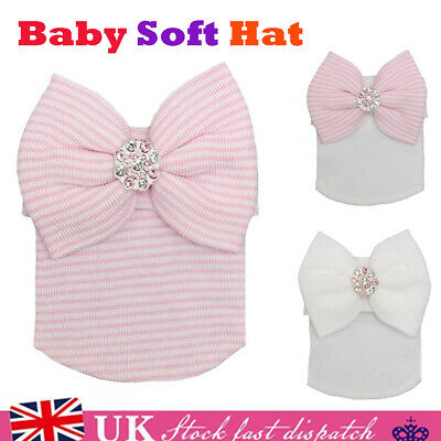 0~3 Months Newborn Baby Infant Girl Pink Bowknot Diomand Hospital Cap Beanie Hat