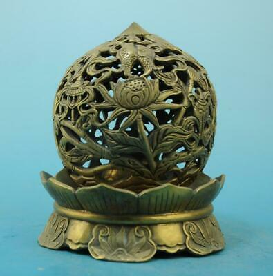 China old copper hand-carved lotus and fish hollow out incense burner e02