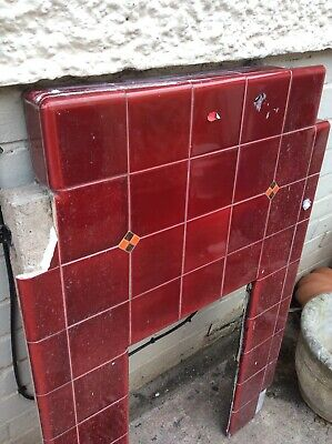 Reclaimed 1930's Fireplace, Burgundy Tiled Surround Grate Basket & Hearth Tiles