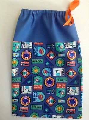 Fabric bag Space theme drawstring shoes nappies toys Gift present Boy Blue