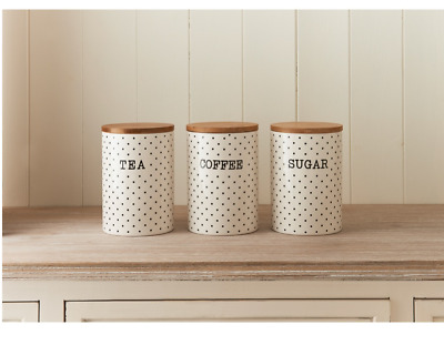 Set of 3 Tea Coffee Sugar Cream & Black Polka Dot Ceramic Canisters Bamboo Lids