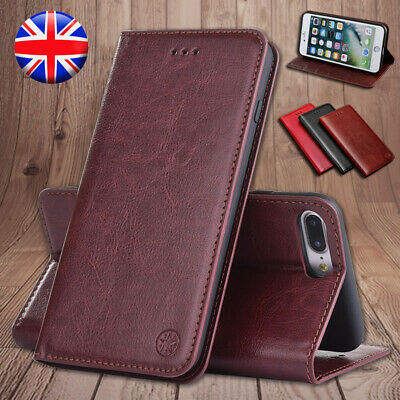 Genuine Leather Flip Wallet Stand Case Cover For iPhone 6 7 8 Plus 5s XR XS Max