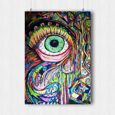 Trippy Eye Psychedelic Poster Image Fantasy Wall Art Print A3 A4 Size