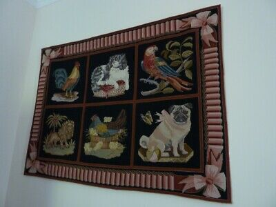 Elizabeth Bradley 6 panel with ribbon border tapestry rug or wall hanging