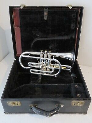 Getzen Eterna Silver Plated Large Bore Bb Cornet with Case