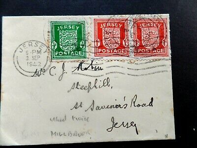 Jersey 3 Sept 1943 used twice cancelled Milbrook sub P.O.