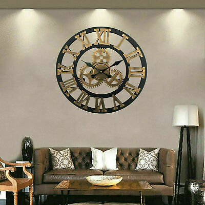 Extra Large Roman Numerals Metal Wall Clock Big Open Face Round Mdf Board