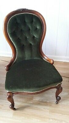 Superb Antique Victorian Mahogany Nursing Chair - Green Velvet - Button Back
