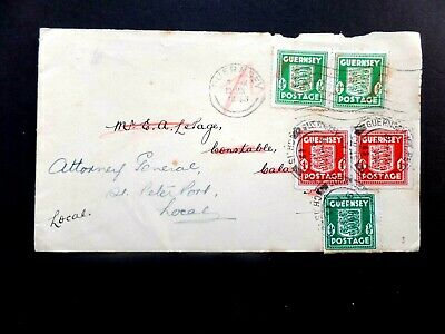 Guernsey 1943 commercial cover used twice 13/jan + 4/Mar