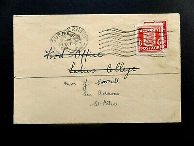 Guernsey 1941 commercial cover used twice with 1d KGVI + 1d Arms