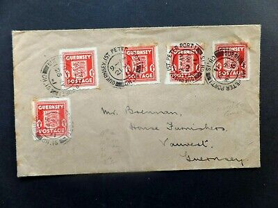 Guernsey 1942 commercial cover used twice with Red Paid cancel
